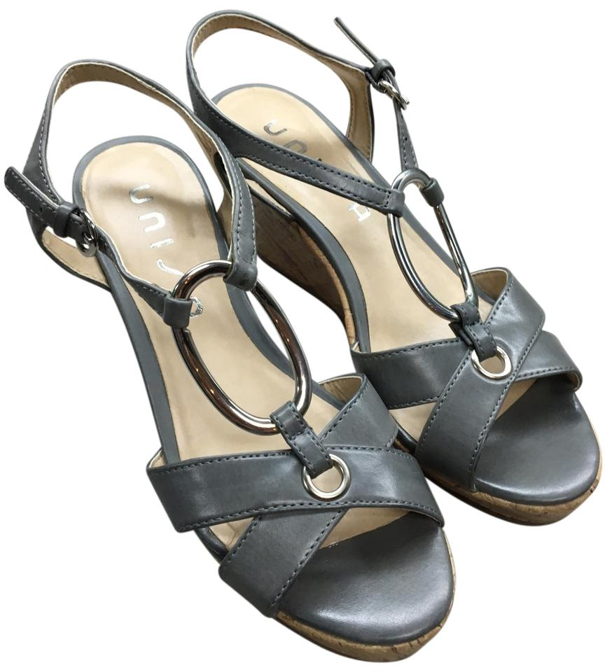 c8192c64aec Unisa Gray Leather Cork Wedge with Silver Hardware Sandals Size US 7 ...