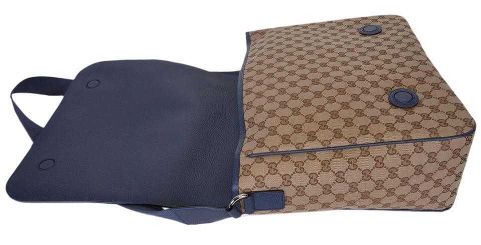 900b287bf1ce Gucci New 510340 Gg Convertible Diaper Baby Brown Blue Canvas Cross ...