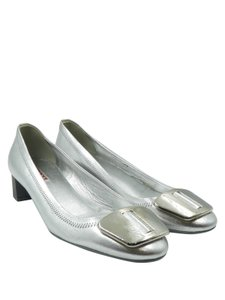 Prada Metallic Round Toe Metallic Leather Silver Flats
