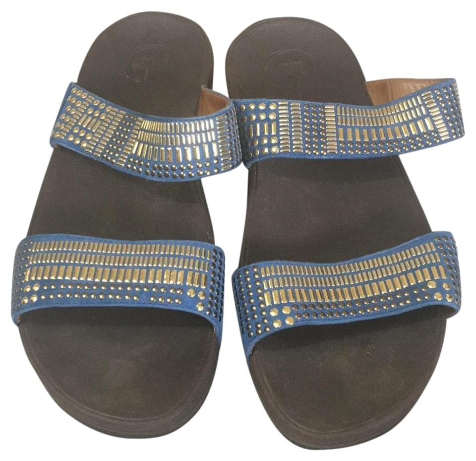 235e3f8426e3b7 FitFlop Brown Blue and Gold . Sandals Size US 10 Regular (M