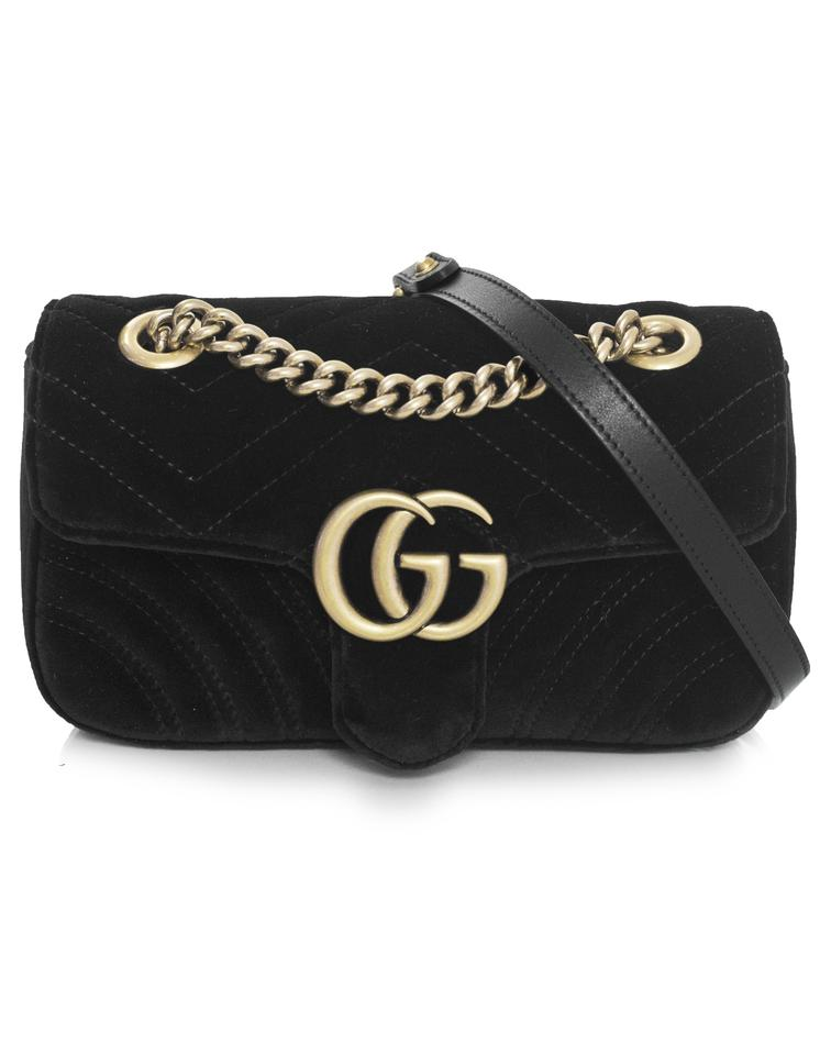 1c6b751b2c1 Gucci Marmont Mini Gg 2.0 Matelassé Black Velvet Shoulder Bag - Tradesy