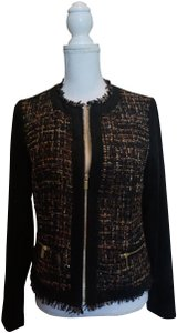 Conrad C Faux Suede Metallic Zippered Jacket Black Blazer