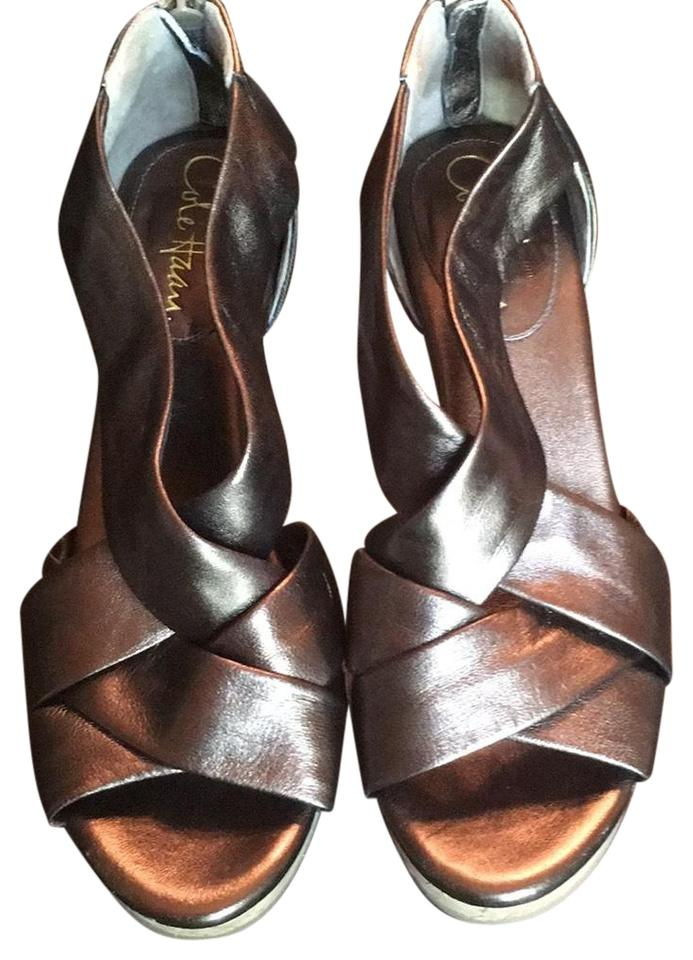 Cole Haan Delfina Dark Bronze Metallic Air Delfina Haan Back Zip Wedges 6e7727