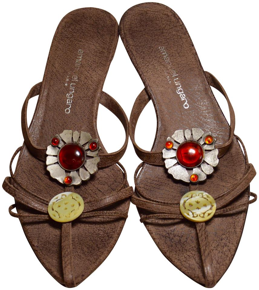 22521e8e5a88 Emanuel Ungaro Brown Cabochon Crystal Flower Cage Sandals Size US ...