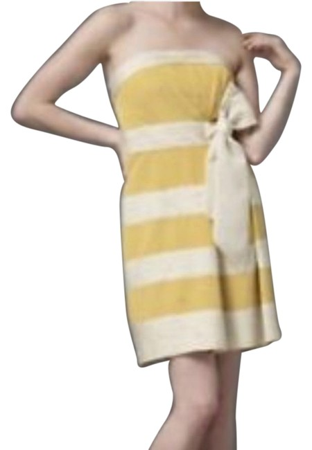 Item - Gold Yellow Cream Hithero Mid-length Cocktail Dress Size 0 (XS)
