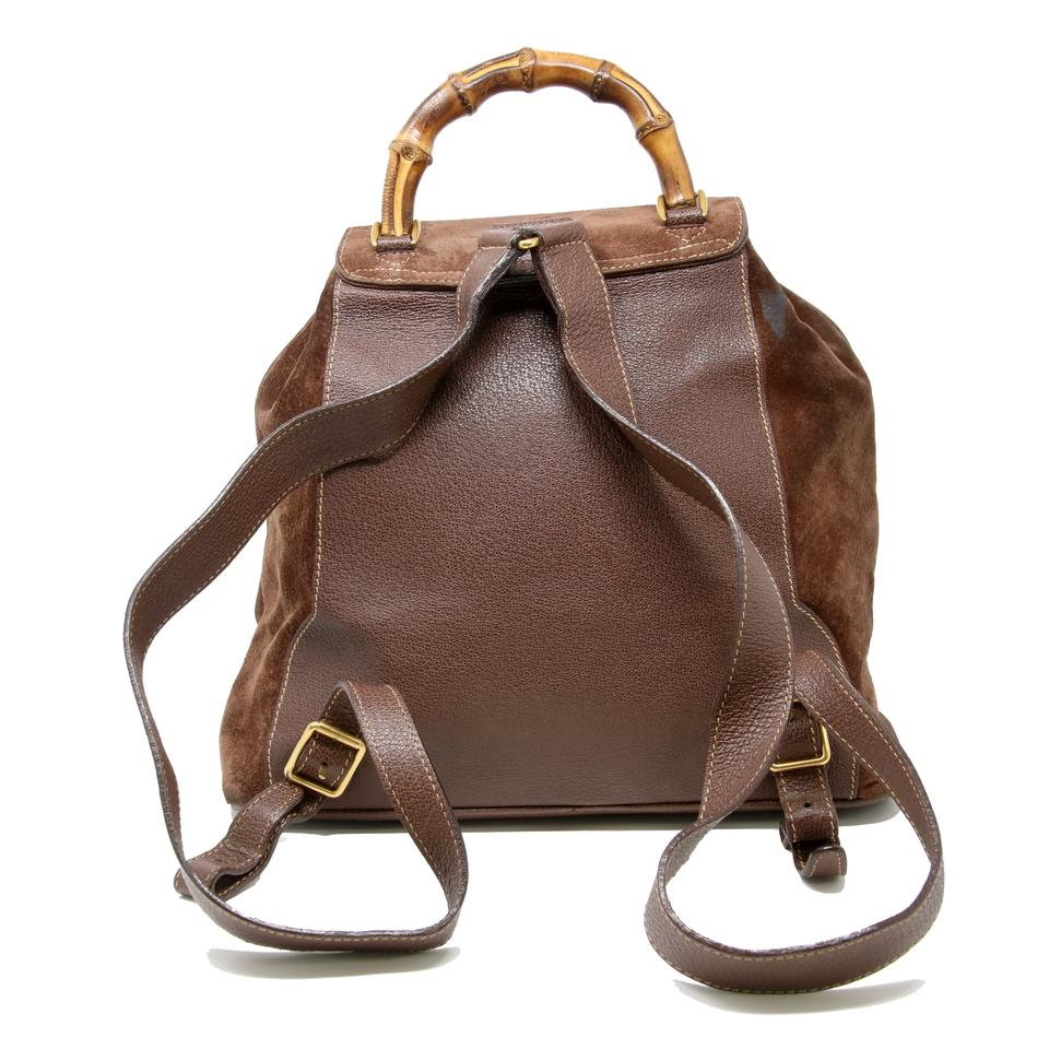 e4356d3b1093db Gucci Bamboo Daypack Brown Suede Leather Backpack - Tradesy