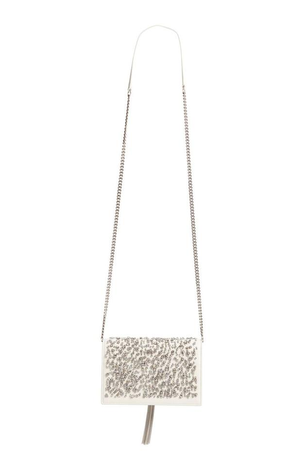 Kate Body Tassel Embellished Laurent Bag Monogram White Leather Woc Crystal New Saint Cross qEwTaPxAw