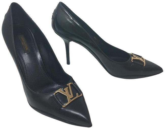 Item - Black Gold Leather Lv Charm Pointed-toe Pumps Size EU 40 (Approx. US 10) Regular (M, B)