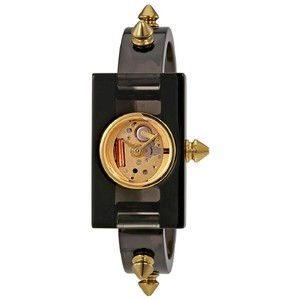 0a96f1b97f6 Gucci Black Vintage Web Champagne Dial Ladies Studded Bangle Style Watch