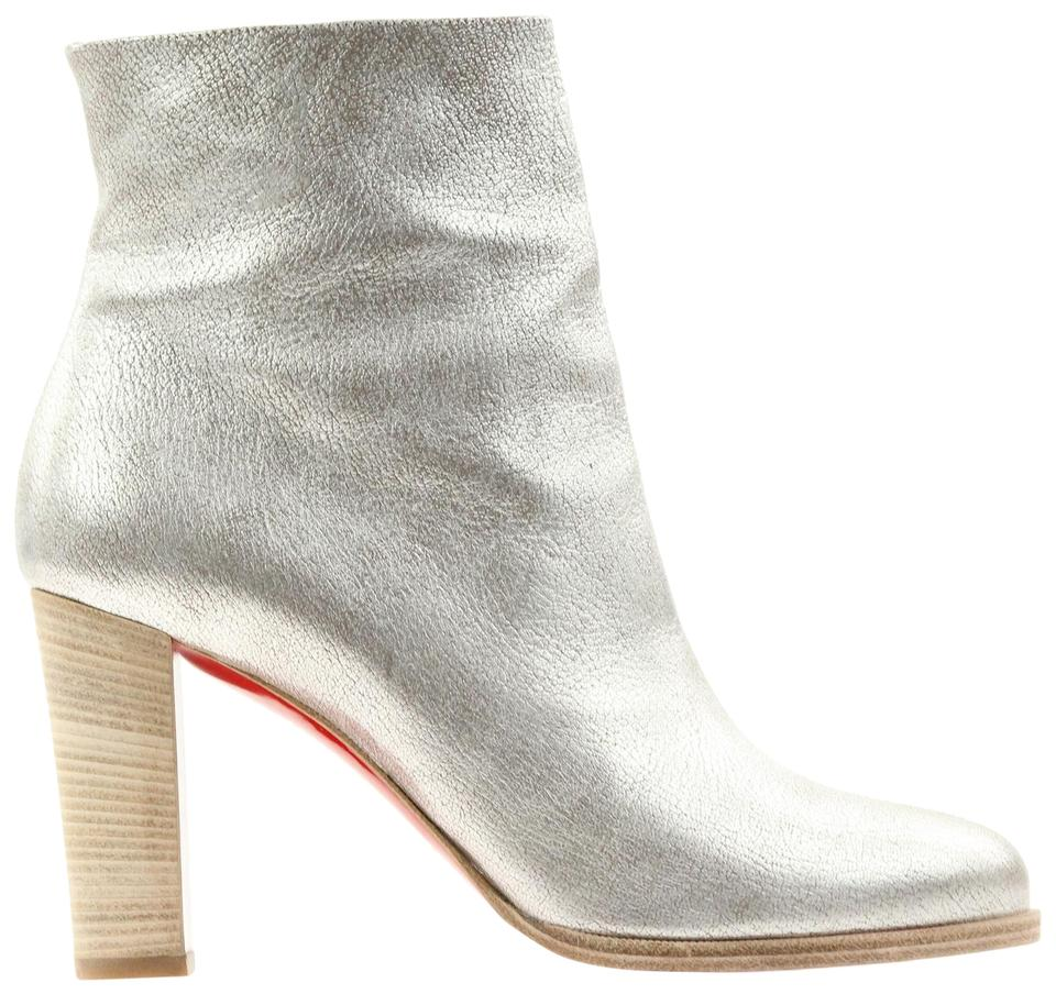new concept 87ea5 d4492 Christian Louboutin Silver Adox 85 Metallic Kid Lame Leather Boots/Booties  Size EU 39 (Approx. US 9) Regular (M, B) 85% off retail