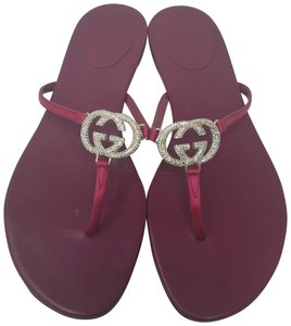 Gucci Satin Crystal Gg Hardware Guccissima Red, Silver Sandals