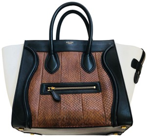 Céline Phantom Leather Tote in white brown black