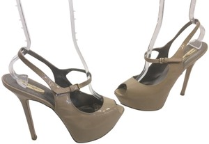 Report Signature Beige patent all leather pecil thin patent leather stilettos ankle straps peep toe Platforms