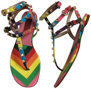 Valentino Studded Leather Rainbow Sandals