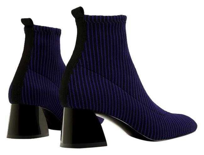 Item - Electric Blue Contrasting Sock-style High Heel Ankle Boots/Booties Size US 8 Regular (M, B)