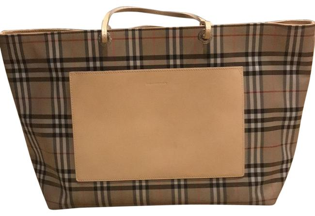 Item - Plaid Nylon and Leather Tote
