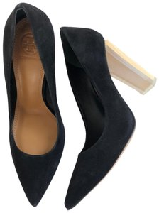 Tory Burch Suede Wooden Transparent Heel Black Pumps