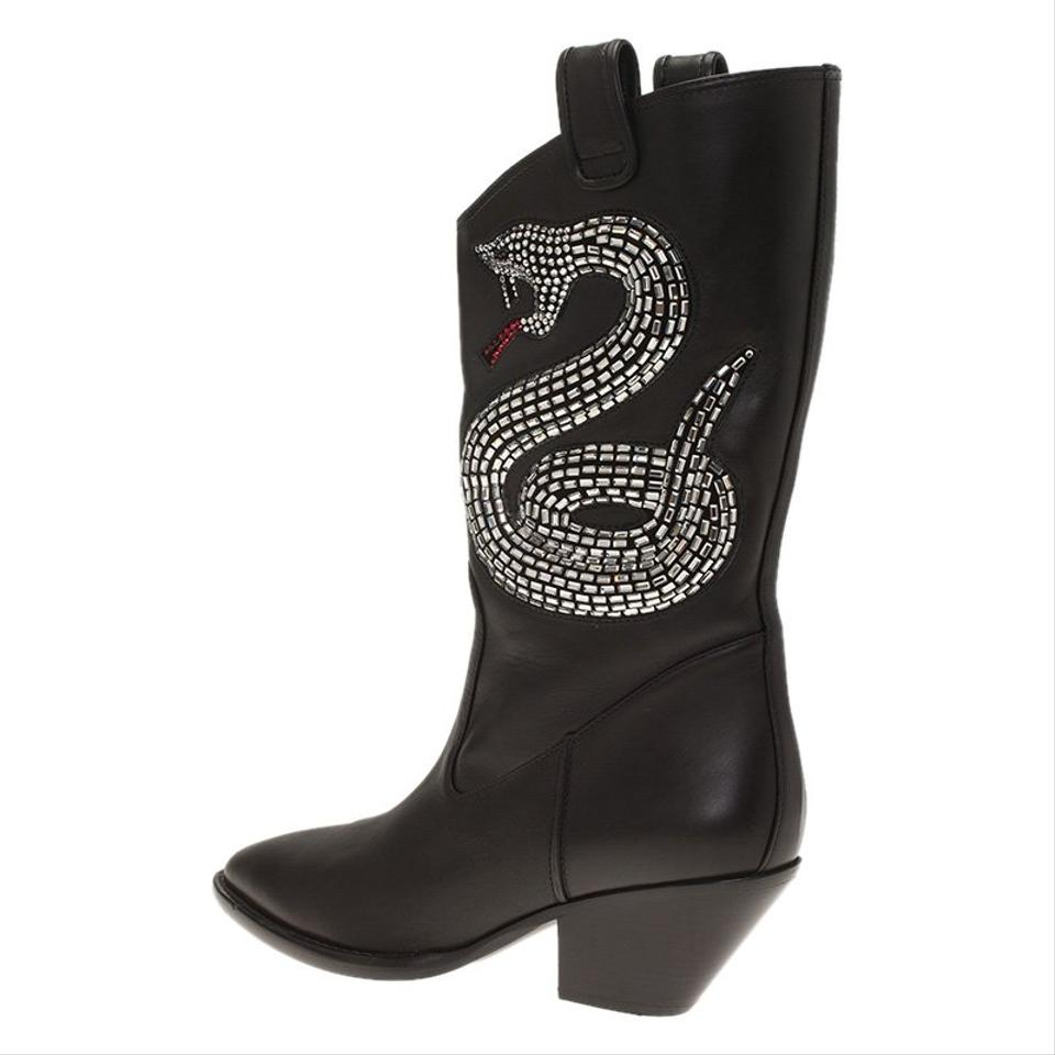 Guns Giuseppe Embellished Zanotti Boots Snake Black Cowboy Booties Leather 55 xUrUn6SqXw