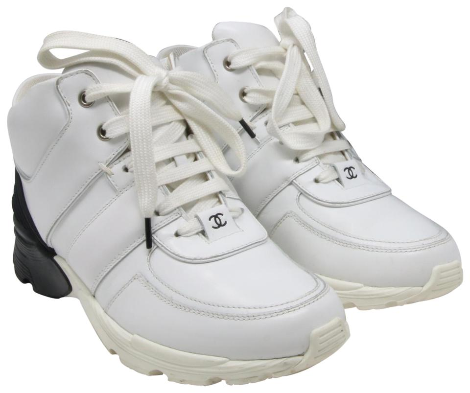 Chanel White Black Classic Lambskin Leather Cc Leisure Hi Top Tennis  Sneakers a7a160815
