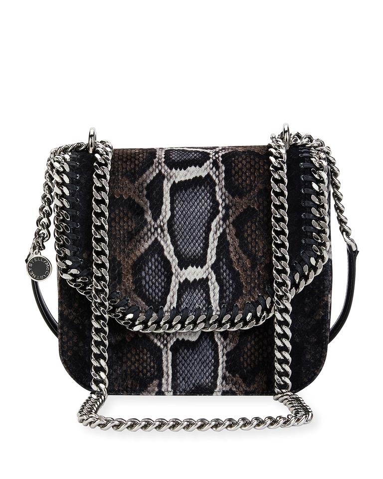 af6b3d85dd Stella McCartney Falabella Black Grey Beige Snake-print Velvet Shoulder Bag  - Tradesy