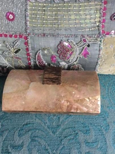 Mother of Pearl Pink, Rose Gold Clutch
