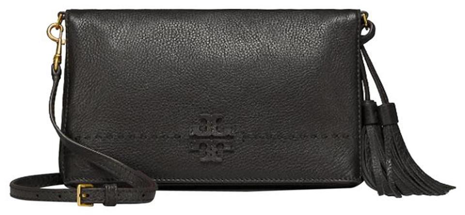 780541e821a3 Tory Burch Mcgraw Foldover Clutch Cross Body Black Leather Clutch ...