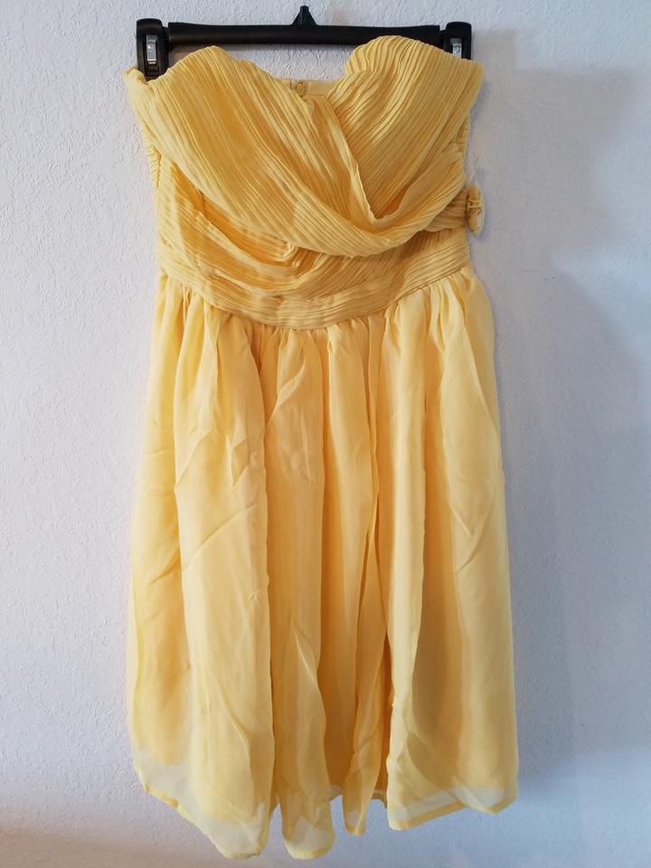 b369369dde Tevolio Calm Yellow Chiffon Strapless Modest Bridesmaid Mob Dress. Street  Size  4 ...