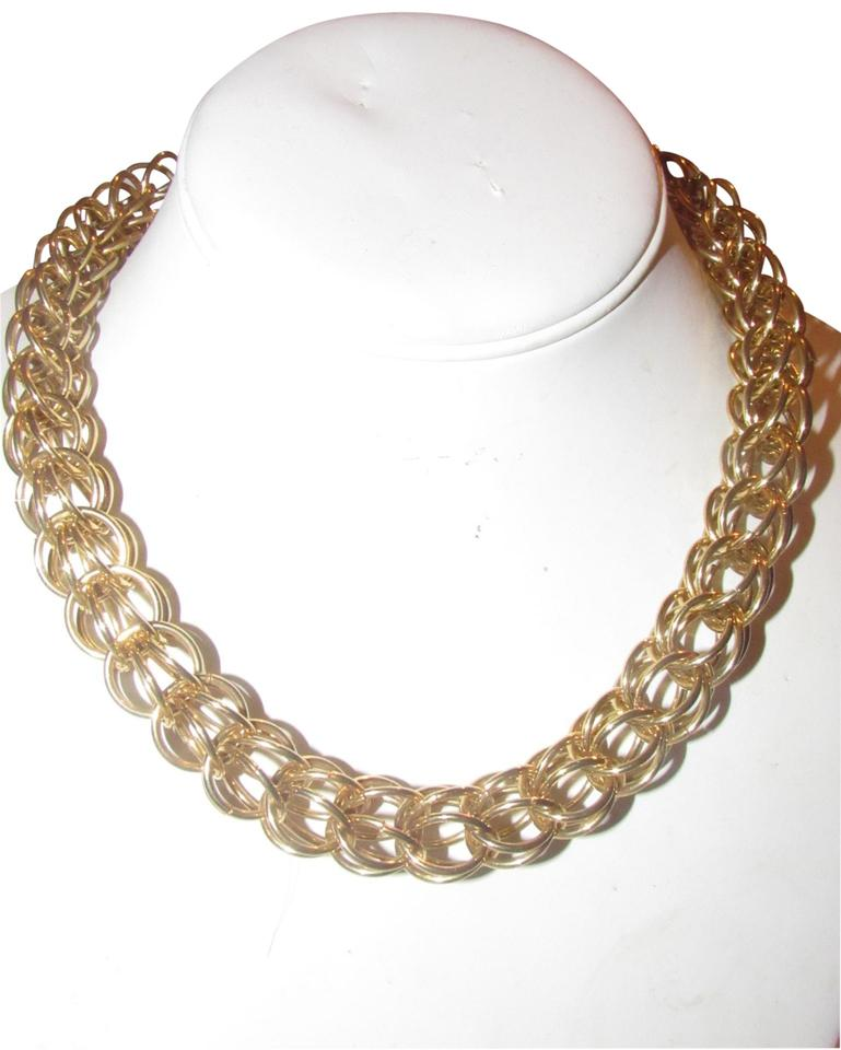 d98e77b452c Gucci Three Dimensional Woven Round Gold Links Jewelry Designer Necklace
