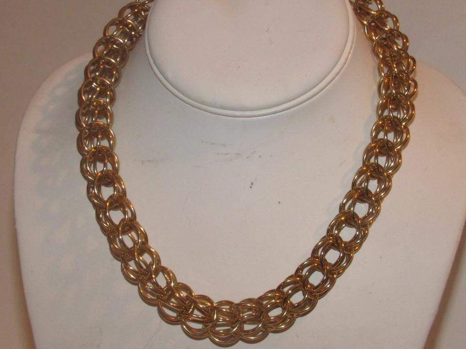 ef4a1cf8f3c Gucci Three Dimensional Woven Round Gold Links Jewelry Designer Necklace -  Tradesy