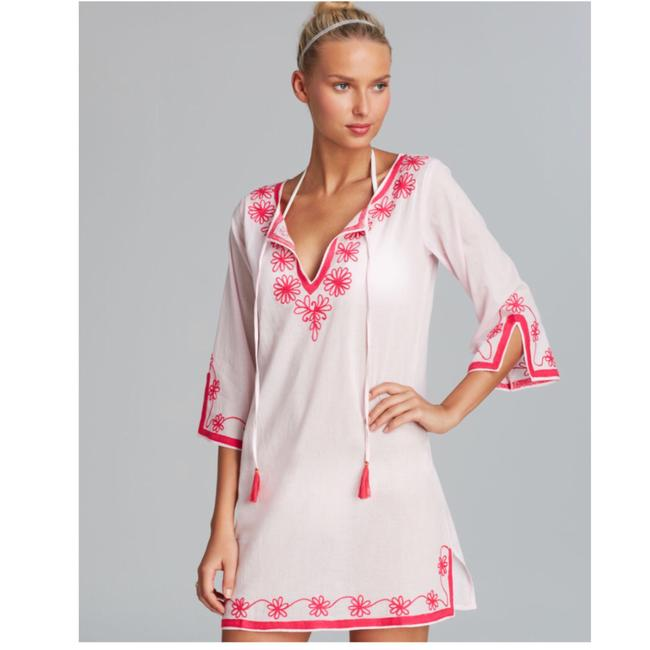 Item - White + Pink Serena Embroidered Cotton Tunic Cover-up/Sarong Size 4 (S)