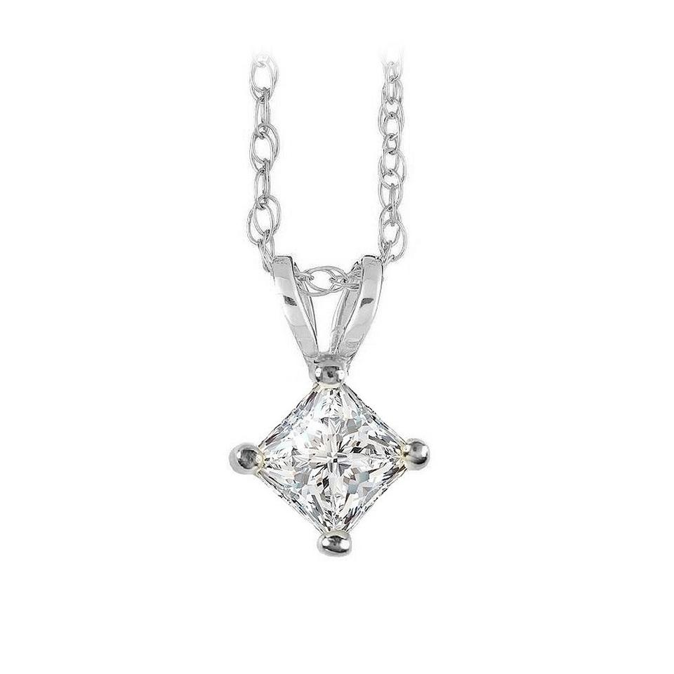 White 4 prong set square solitaire diamond pendant in gold necklace marco b 4 prong set square solitaire diamond pendant in gold aloadofball Images