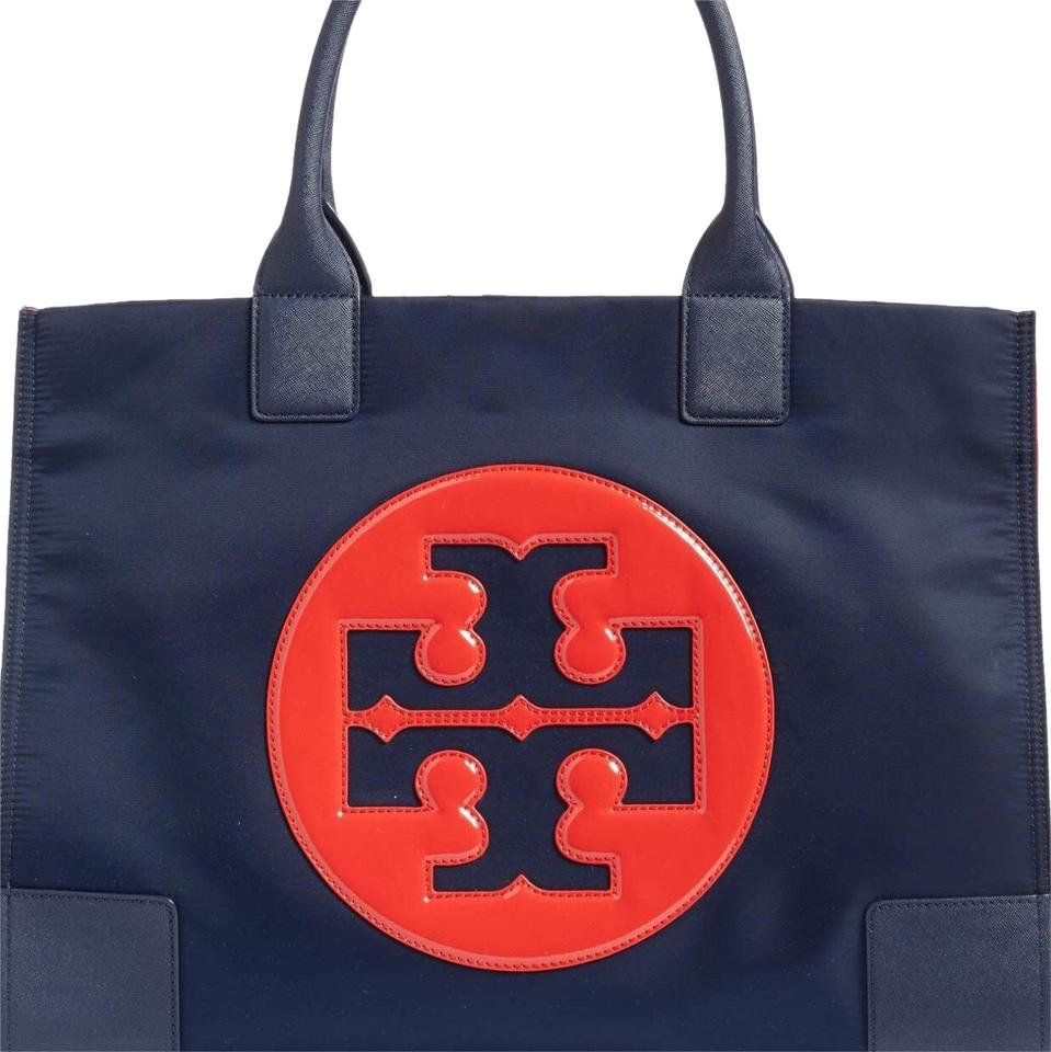 50e1639f167 Tory Burch Ella Large Navy and Cherry Red Nylon Tote