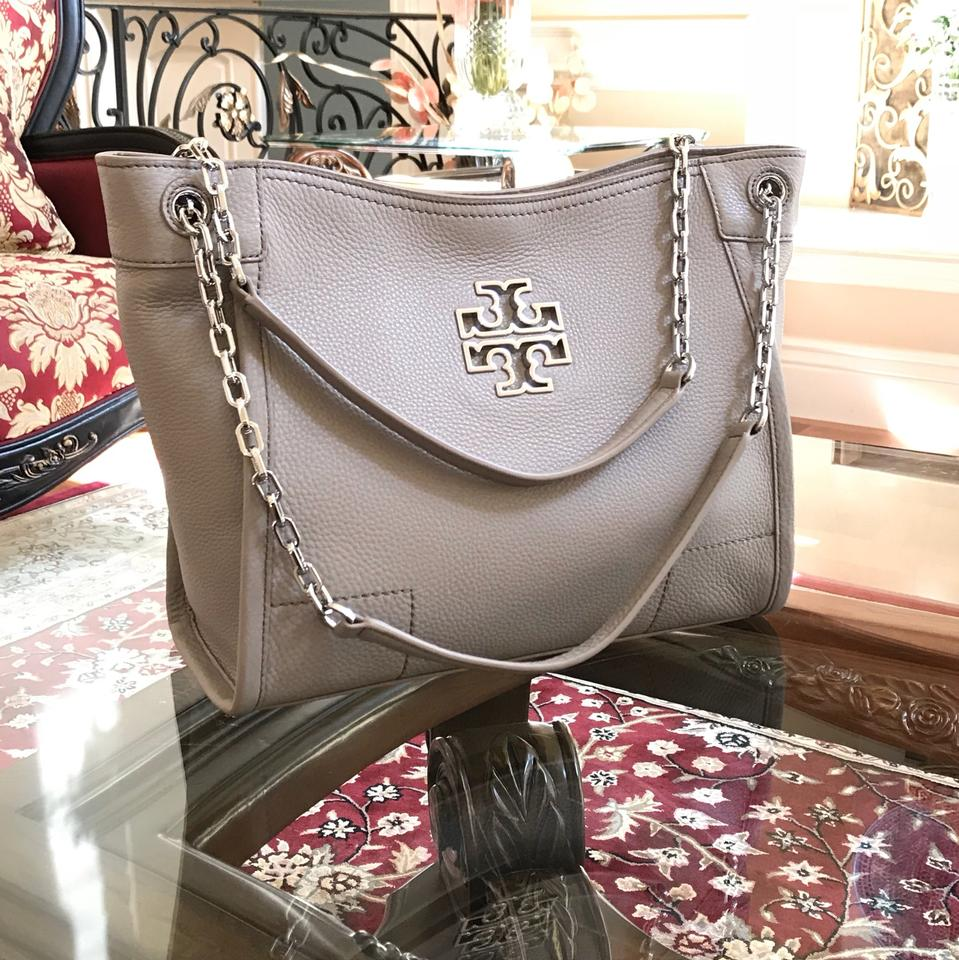 3757ce27cb8c Tory Burch Pebbled Leather Leather Satchel in french grey Image 9.  12345678910