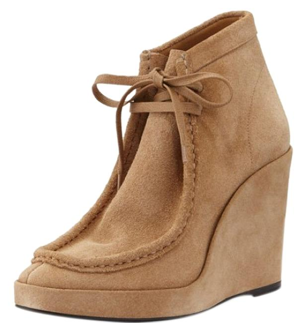 Item - Tan/Khaki Suede Wedge Ankle Boots/Booties Size EU 37 (Approx. US 7) Regular (M, B)