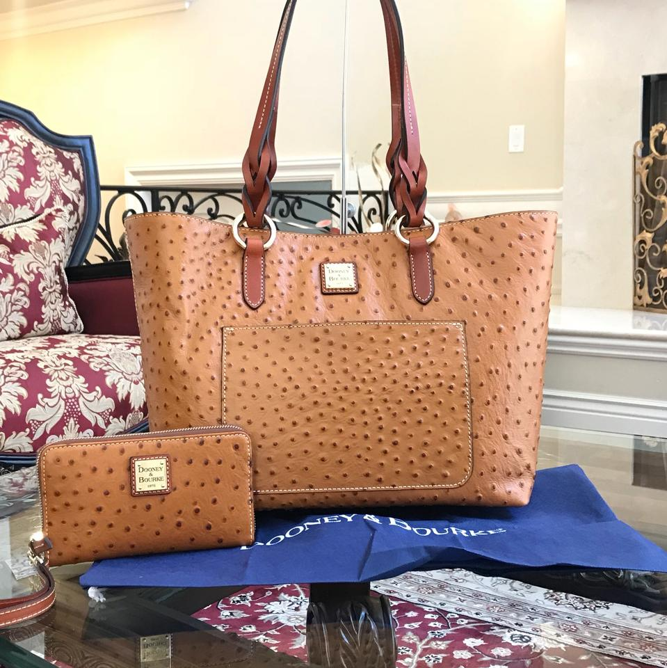 021cde305 Dooney & Bourke W 2pcs Tammy Ostrich Print Bundled W/Wallet Set Tan ...