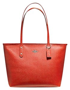 Coach Shoulder 36875 Satchel City Tote in orange red