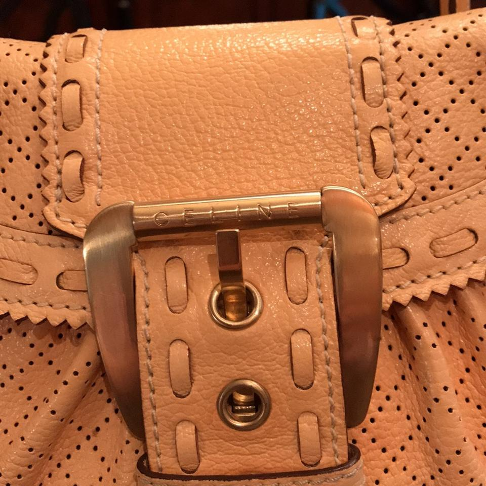 Nude Leather Monogrammed Buckle Satchel Céline FXw1qEB84x
