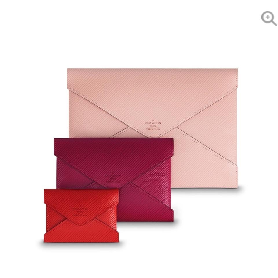 a1b67b6f1c95 Louis vuitton pochette kiragami pink red leather clutch tradesy jpg 960x960  Pink louis vuitton clutch