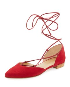 Stuart Weitzman Gilligan Lace Up D'orsay Sandal Ankle Wrap New Red Flats