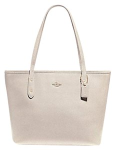 Coach Zip Top City Tote in white