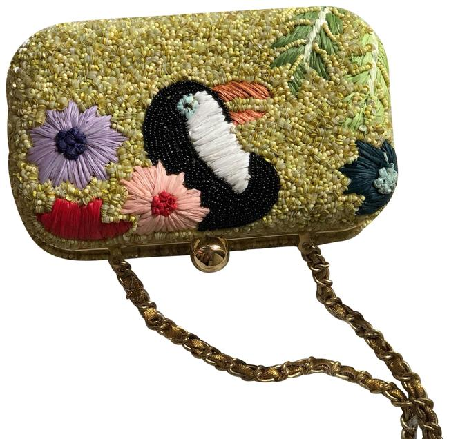 Item - Chain Embroidered Tucan Embroidered Multicolor Cotton Clutch