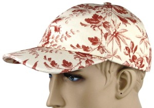 Gucci Beige/Red Canvas Baseball Cap with Floral Print S 408793 6461