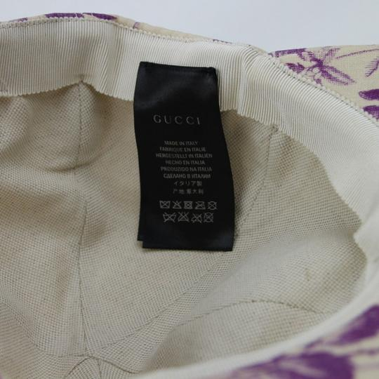 Gucci Beige/Purple Canvas Baseball Cap with Floral Print S 408793 5278 Image 8
