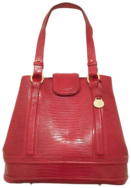 Item - Bucket Lg Rare Embossed Lizard Red Gold Leather Tote