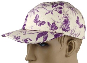 Gucci Beige/Purple Canvas Baseball Cap with Floral Print XL 408793 5278