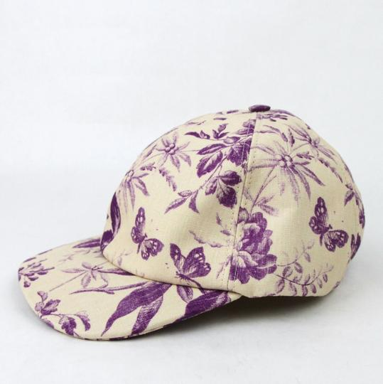 Gucci Beige/Purple Canvas Baseball Cap with Floral Print XL 408793 5278 Image 1