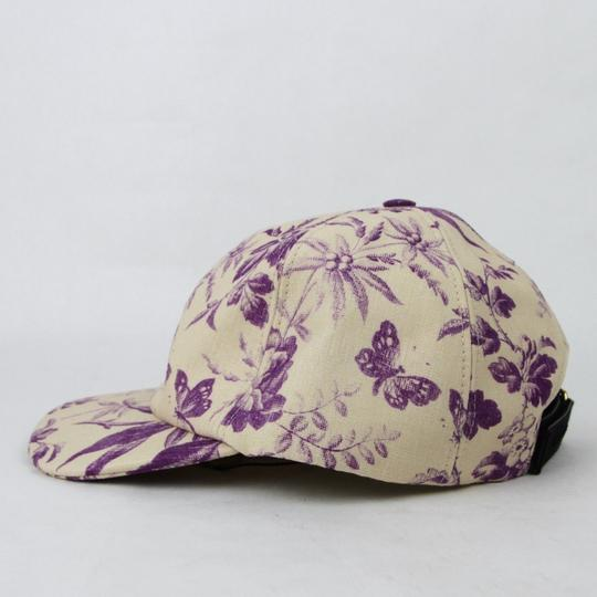 Gucci Beige/Purple Canvas Baseball Cap with Floral Print XL 408793 5278 Image 2