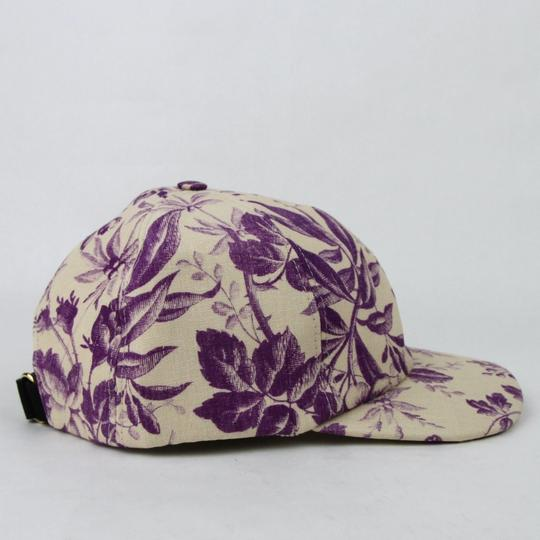 Gucci Beige/Purple Canvas Baseball Cap with Floral Print XL 408793 5278 Image 3