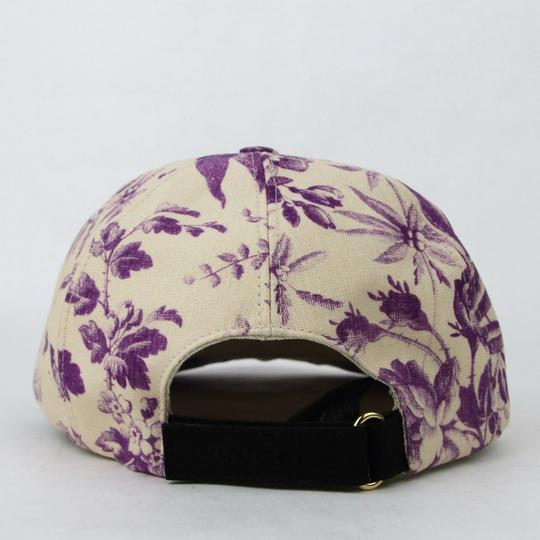 Gucci Beige/Purple Canvas Baseball Cap with Floral Print XL 408793 5278 Image 4