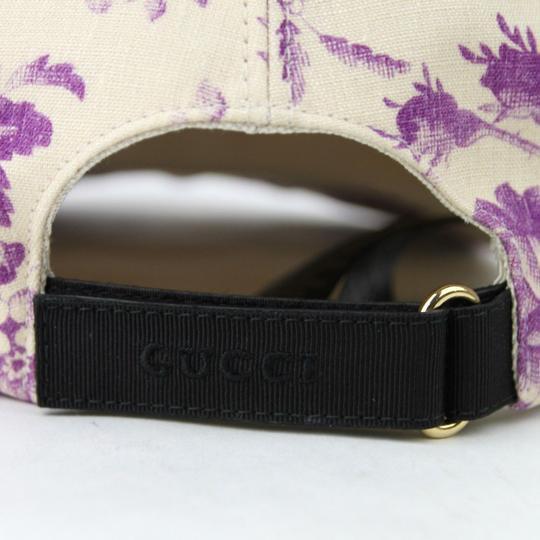 Gucci Beige/Purple Canvas Baseball Cap with Floral Print XL 408793 5278 Image 5